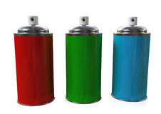 The Three Sprays. Three Spray cans red, green and blue placed on a white background, also a metaphor for RGB colors Royalty Free Stock Photo