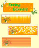 Three spring banners with spring flowers. Vector illustration Stock Images