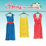 Three spring coctail dresses on a hanger. Stock Image