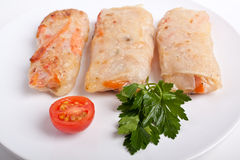 Three spring rolls on plate stock images