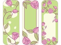 Three springtime hand drawn vertical banners  Stock Photos