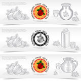 Three square banners of milk product with strawberry filling Stock Images