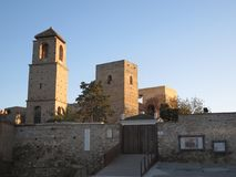 Three square tower buildings. At arabic castle in Andalusian village Royalty Free Stock Image