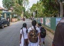 Three sri lankan school girls in uniform. On teh way to home royalty free stock photos