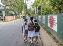 Three sri lankan school girls in uniform walking on the street. In Sri Lanka stock photo