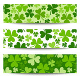 Three St. Patricks day banners with shamrock. Stock Images