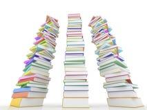 Three stack of books on white Royalty Free Stock Photos