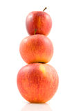 Three stacked apples Stock Images