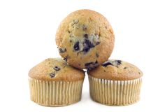 Three Stacked Blueberry Muffins Royalty Free Stock Photography