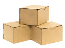 Three stacked boxes Stock Images