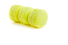 Three stacked green cake macaron isolated on white background, maccarone sweet dessert Stock Images