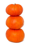 Three stacked pumpkins Stock Photography