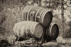Three Stacked Wine Barrels - Sepia Royalty Free Stock Photo