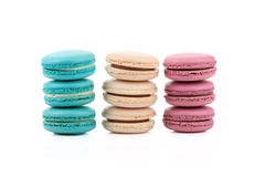 Three stackes of multicolored macaroons isolated Royalty Free Stock Image