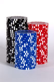 Three Stacks. Of poker chips against a white background Stock Image