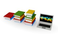 Three stacks of books and  notebook. Royalty Free Stock Photography