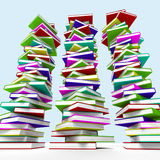 Three Stacks Of Books Representing Learning Stock Photos