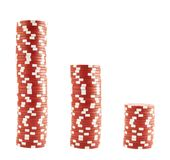 Three stacks of casino chips Royalty Free Stock Photos