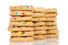 Three stacks of chocolate chip candy cookies Stock Photo