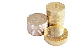 Three stacks of coins Royalty Free Stock Photography