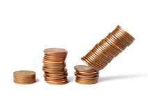 Three stacks of coins 2 Royalty Free Stock Image