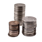 Three stacks of coins Stock Photography