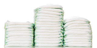 Three stacks of diapers Stock Image