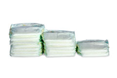 Three stacks of diapers Stock Photography