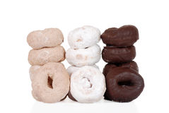 Three stacks of fresh donuts Stock Photo