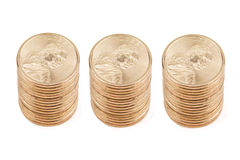 Three Stacks of Gold Coins Royalty Free Stock Image