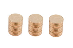 Three Stacks of Gold Coins Stock Photos