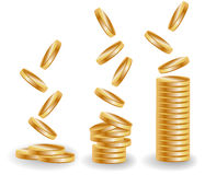 Three stacks of gold coins, an increasing income Royalty Free Stock Image
