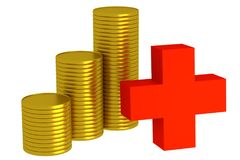 Three stacks of golden coins and symbol plus Stock Photo