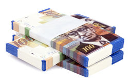 Isolated 100 NIS Bills Criss-Cross Stacks Stock Photo