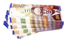 Isolated 100 NIS Bills Stacks Staircase Stock Image