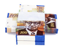 100 NIS Bills Criss-Cross Stacks. Three stacks of 100 NIS (New Israeli Shekel) money notes on top of eachother,  on white background Stock Images