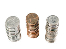 Free Three Stacks Of Us Coins From Above Stock Photography - 9254232