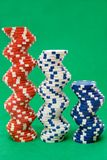 Three Stacks of Poker Chips Stock Images