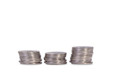 Three Stacks of silver Ukrainian coins Royalty Free Stock Photo
