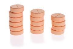 Three stacks of tablets Stock Photo