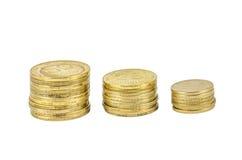 Three stacks of Ukrainian coins Stock Photo