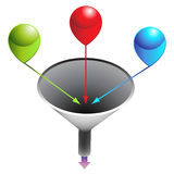 Three Stage Funnel Chart. An image of a three stage funnel chart Royalty Free Stock Photos