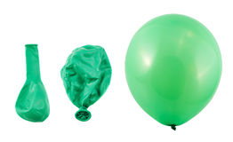 Three stages of balloon inflation isolated Stock Photos