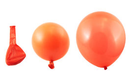 Three stages of balloon inflation isolated Royalty Free Stock Photography