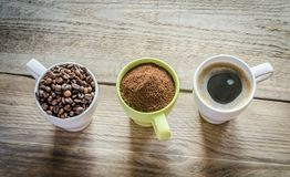 Three stages of coffee preparation Royalty Free Stock Images