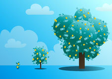Three stages of growth of a monetary tree vector illustration