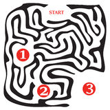 Three stages of the passage of the labyrinth Stock Photography