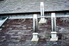 Three stainless steel chimneys Royalty Free Stock Image