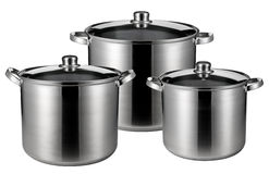 Three stainless steel pots isolated Royalty Free Stock Image