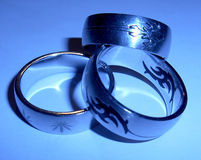 Three stainless steel rings Royalty Free Stock Images